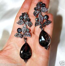 Filigree Leaf Rhinestone Chandelier Earrings Bridal Prom Pageant 3.5 inch Gray