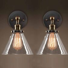 2x Vintage Industrial  Wall Light Sconce Glass Lamp Wash Room Picture Mirror