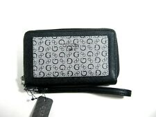 Guess Wellman SLG Women's Wallet Black Double Zip Wristlet NWT