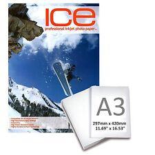 ICE LUCIDO RIVESTITO STAMPANTE A GETTO D'INCHIOSTRO CARTA FOTOGRAFICA 210GSM A3