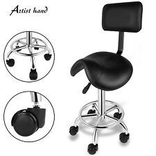Tattoo Saddle Chair Swivel Adjustable Hydraulic Hair Salon Stool Barber Backrest