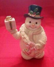 """Htf Lenox Snowman with Scarf Holding Pink Present Gift 7-7.5"""" H New - No Box"""