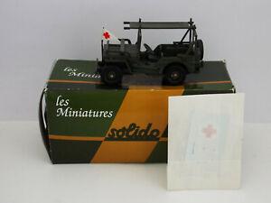 Miniature Métal SOLIDO Jeep Willys Ambulance brancard Militaire Echelle 1/50e