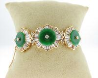 Vintage Estate Green Jade 4.00cts Diamonds Solid 18k Yellow Gold Bangle Bracelet