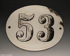 ALTE EMAIL EMAILLE HAUSNUMMER 53 in SCHWARZ/WEISS um 1916...18,5 x 14,5 cm