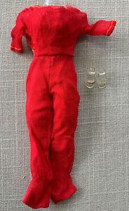 Vintage BARBIE #1034 HOSTESS SET 1965 - VHTF Red Chiffon Jumpsuit Glitter Shoes