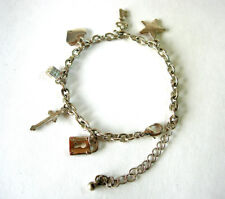 Silvertone Charm Bracelet 17cm ~ Heart, Star, Cross, Die, Lock, Key ~ Pre-owned
