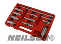 """11 pcs 3/8"""" Master Spark Plug Glow Plug Socket Set Petrol Diesel Removal Tool"""