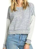 $50 Billabong My Desire Fleece Long Sleeve Top NWT Size M, L Metallic Gray