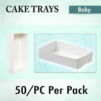 Paper Takeaway Food Trays 50 Qty Baby White Fish, Chips, Cake Trays Disposable