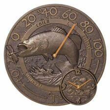 Whitehall Antique Copper Bass Thermometer Clock