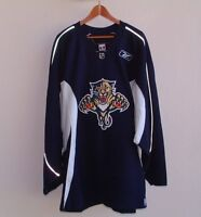FLORIDA PANTHERS TEAM ISSUED REEBOK BLUE PRACTICE HOCKEY JERSEY w/FIGHT STRAP 56
