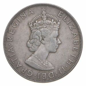 SILVER Roughly the Size of a Quarter 1964 Bermuda 1 Crown World Silver Coin *894