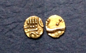 India Vira Raya gold fanam, Marathas in Tanjore 17th century tiny gold