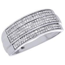 Diamond Wedding Band Men's 10K White Gold 3 Row Round Cut Pave Ring 0.36 CT.