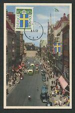 Svezia MK 1957 bandiera bandiera Malmö maximum carta carte MAXIMUM CARD MC cm d1232