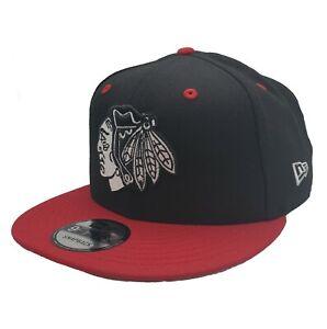 Chicago Blackhawks New Era 9Fifty 2 Tone Red Black B&W Logo Snapback Hat Cap NHL