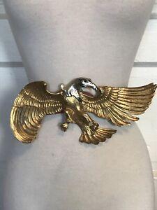 Vintage Silver Gold Alpaca German Belt Buckle 5Big Western Design Antique Flying Gold Eagle and Southern Leaves