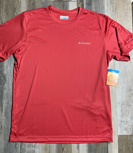 NEW COLUMBIA Rapid Creek Short Sleeve Shirt OMNI SHADE UPF50 Salmon Mens MEDIUM