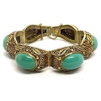 """Antique Chinese Export Sterling Silver Filigree Turquoise Bracelet. 7""""."""