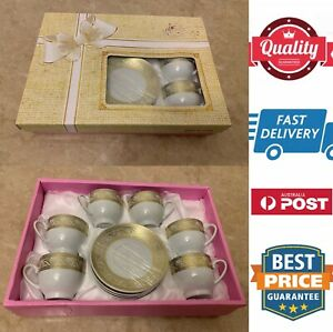 12 pcs Ceramic Tea Coffee Cup And Saucer Set,White Gold,nice Gift Set, AU Stock