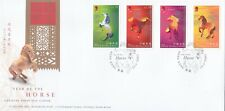 """HONG KONG, 2002, """"YEAR OF HORSE"""" STAMP SET ON GPO FDC, FRESH CONDITION"""