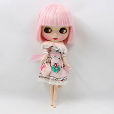 Blythe Nude Doll from Factory Matte Face+Pink Short Optimal Soft Hair With Bang