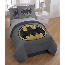 BRAND NEW! Batman Full Queen Reversible Comforter Sham Set Bedding Gray Black