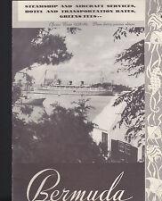 BERMUDA 1938 Brochure  Steamship & Aircraft Services  Hotel Rates Greens Fees