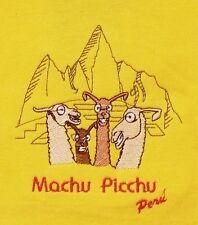 Kinder Peru T-Shirt gelb, Lama Comic,Gr.116*122, Machu Picchu, Anden Inka Humor
