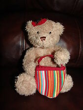 Bath and Body Works Poppy the Brown Bear w/ Bow and Bag Plush Doll 6 1/2""