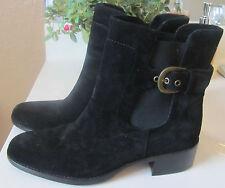 JOAN & AND DAVID NWOB $280 size 8 black suede women's boots low heel buckle