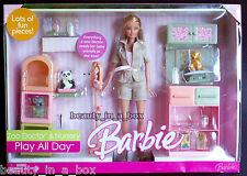 Zoo Doctor Nursery Barbie Doll Play All Day Gift Set Playset  NRFB Box has wears
