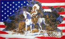 Indian on Horse in Snow US Flag 3x5 ft USA America Native American Headdress US