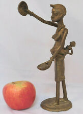 African tribal folk art metal figurine Woman with baby winnowing grain sculpture