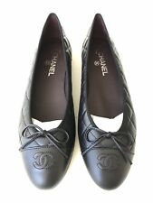 84099f3635b  795 CHANEL 2018 CLASSIC QUILTED BLACK CALFSKIN LEATHER BALLET FLATS 41.5