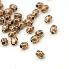 1000PCS Red Copper Color Tibetan Silver Bead Spacers Faceted Oval Beading Craft