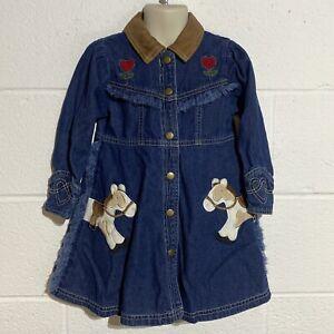 Girls Denim Dress Size 4 Pony Fringe Horses Flowers Le Top Ranch Farm Cute Jean