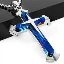 Unisex's Men Blue Stainless Steel Cross Pendant Necklace Chain Fashion Jewelry