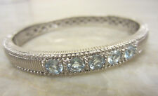 JUDITH RIPKA Sterling Silver 925 CZ Bangle Cuff Bracelet Hinged EXCELLENT!