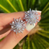 Earrings Gold Plated White Nails Studs Star 0 13/16in Cz Marriage G12B