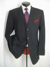"Hugo Boss Red Label Solid Black 3 Buttons Wool Suit 42 R~Pants 36""W x 31""L"