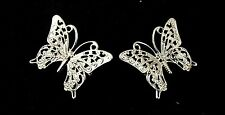 2 small silver coloured butterfly brooches SALE