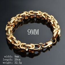 Fashion Women's Vintage 18K Gold Silver Bangle Punk Cuff Bracelet Chain Jewelry