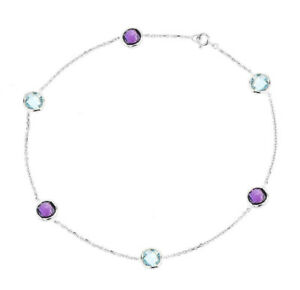14K White Gold Anklet Bracelet With Blue Topaz And Amethyst Gemstones 9 Inches