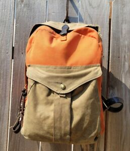 FILSON JOURNEYMAN WAXED TINCLOTH CANVAS/COTTON BRIDAL LEATHER BACKPACK
