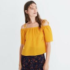 MADEWELL - OFF SHOULDER COLD SHOULDER BLOUSE - YELLOW - SIZE L