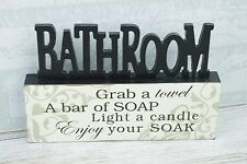 Bathroom Plaque Freestanding Grab A Towel A Bar Soap Cut Out Decor 24cm SG1610