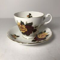Vintage Royal Ascot Fine Bone China Tea Cup & Saucer Red & Yellow Rose Pattern