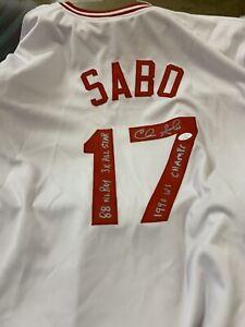 Chris Sabo Signed Autograph Jersey Cincinnati Reds 1990 World Series Champ JSA